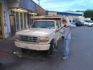 Power spraying the truck